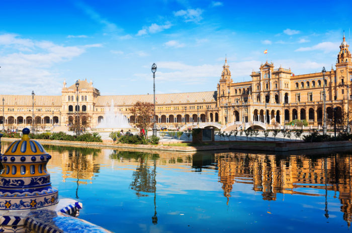 Plaza de Espana with reflection. Seville, Spain